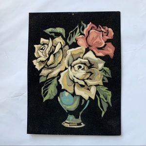 Vintage 70s Original Sign Velvet Painting Floral